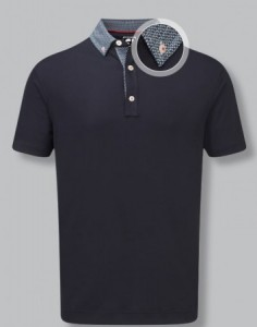 FootJoy Stretch Pique with Woven Buttondown Collar - Navy with Navy & White
