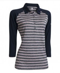 Backtee Ladies Striped 3/4 mouw polo - navy/roze