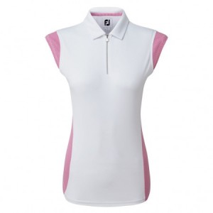 FootJoy Micro Interlock Polo 1/2 cap mouw - wit/roze