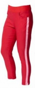 Backtee Ladies Contrast Striped Trousers - rood met roze lining